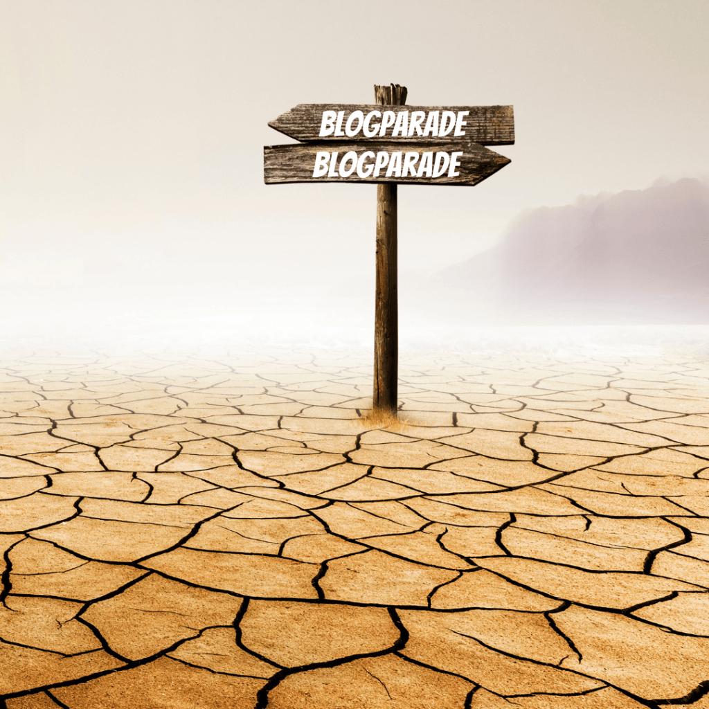 Ein Wegweiser in der Wüste. Auf dem Schild steht: Blogparade.
